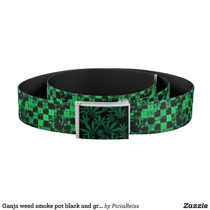 Ganja weed smoke pot black and green pattern belt