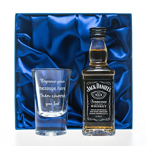 Personalised 1oz Shot Glass & Jack Daniels in Silk Gift Box For 18th/21st/30th/Birthday/Best Man/Usher/Wedding Gift - Royal Hub