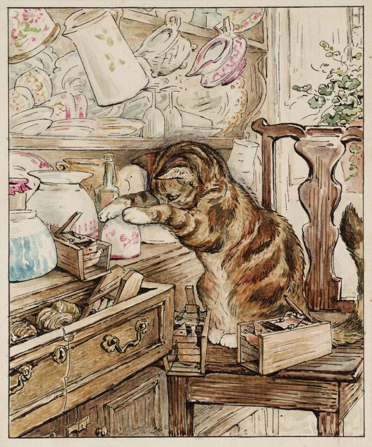 Helen Beatrix Potter (1866‑1943) - Simpkin Housekeeping (From Illustrations for 'The Tailor of Gloucester'), c.1902 - Ink and watercolour on paper
