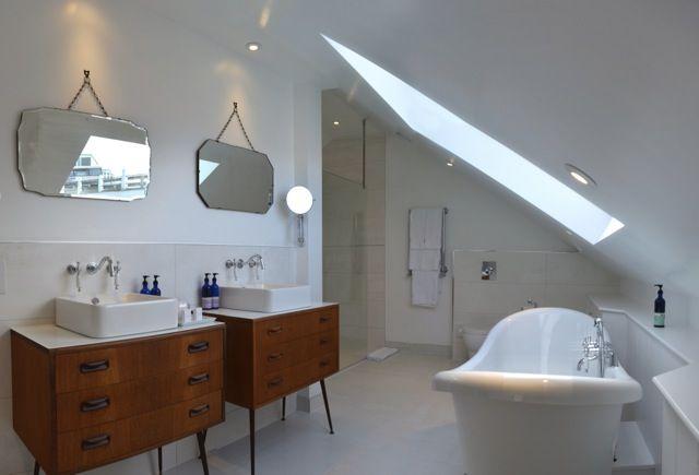 Repurposed vintage drawers as bathroom sink vanity units