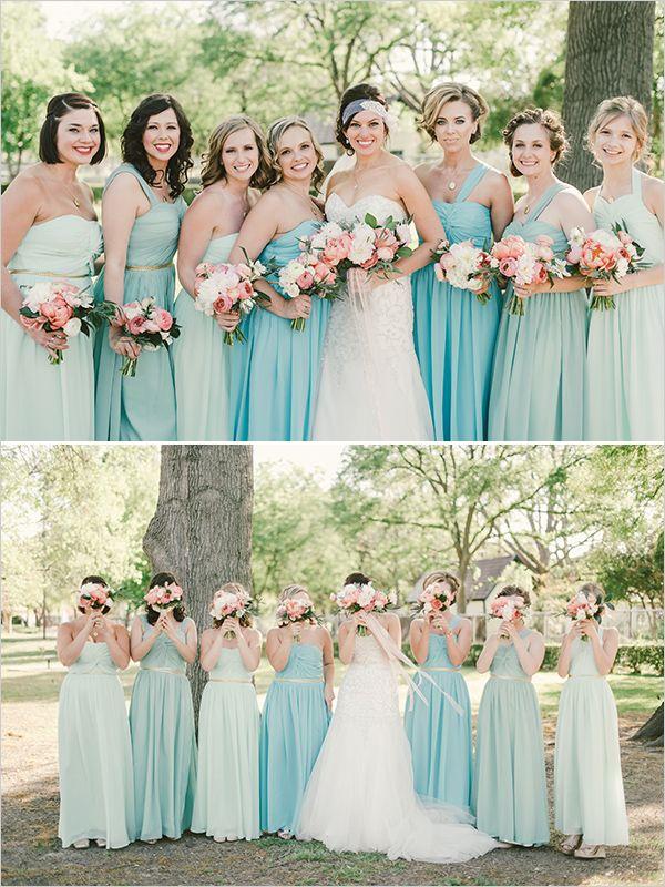 assorted shades of aqua bridesmaid dresses