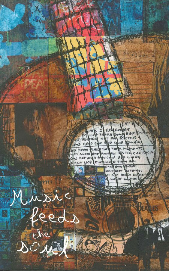 Guitar Art, Music Art, Inspirational Art, Music Feeds the Soul, art print on wood, Bob Marley, The Beatles, Jennifer McCully. $16.00, via Etsy.
