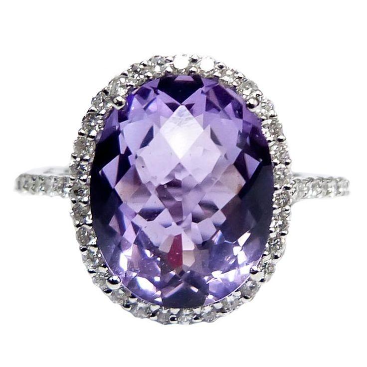 1stdibs.com | Purple Amethyst Diamond Cocktail Ring