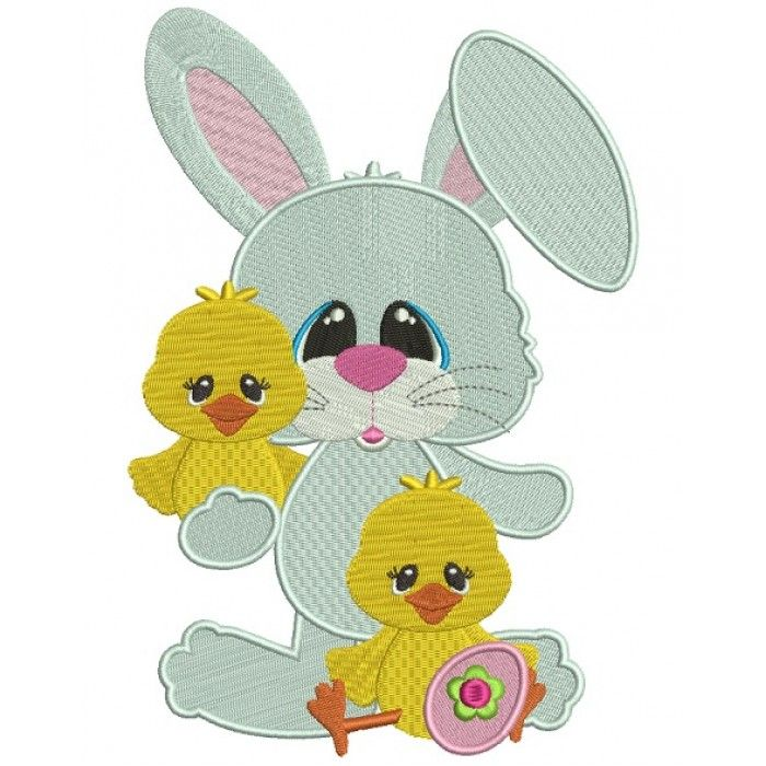 Easter Bunny With a Little Chick Filled Machine Embroidery Design Digitized Pattern