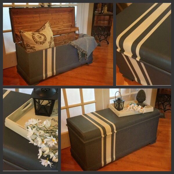 Old Vintage Waterfall Cedar Hope Chest. Painted In Paint Coutures Siberian  Shale And Angelic.