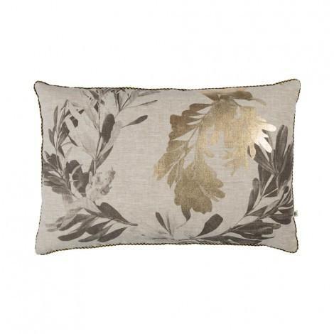 Banksia Cushion Black & Gold | 60x40cm | Bonnie & Neil – Salt Living or online at www.saltliving.com.ay #saltliving #bonnieandneil #screenprinting #linen #handmade #cushion