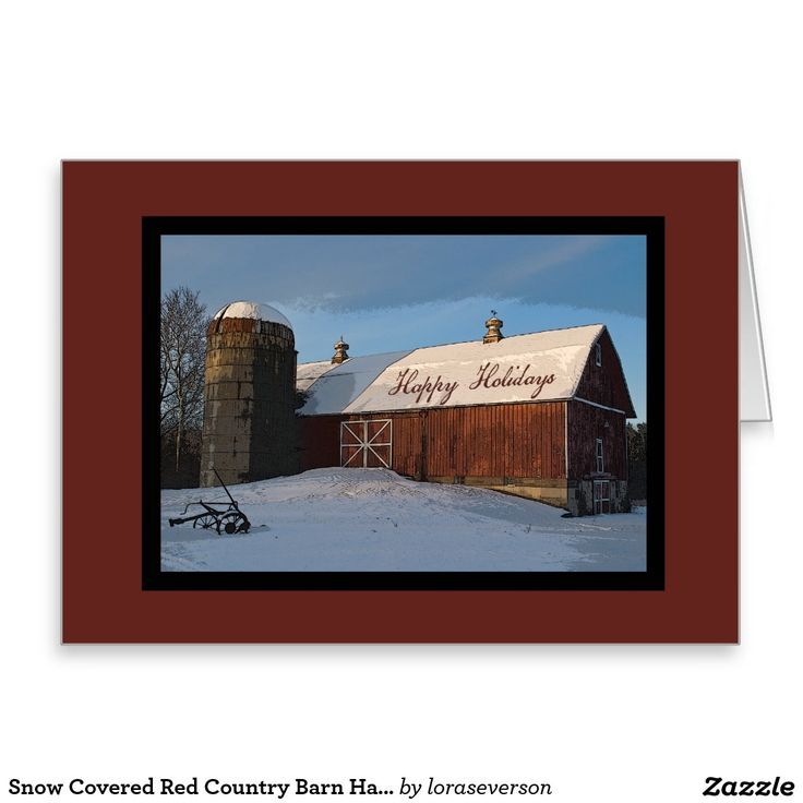 Snow Covered Red Country Barn Happy Holidays Greeting Card Send warm holiday wishes with the charming Snow Covered Red Country Barn Happy Holidays Card. Customize it with your family name and feel free to change the text, font or add your own personal note inside. This rustic custom #country #Christmas card features a digitally enhanced scenic farm photograph of a red barn in the winter covered with snow on a clear cold morning at sunrise. #countrychristmas