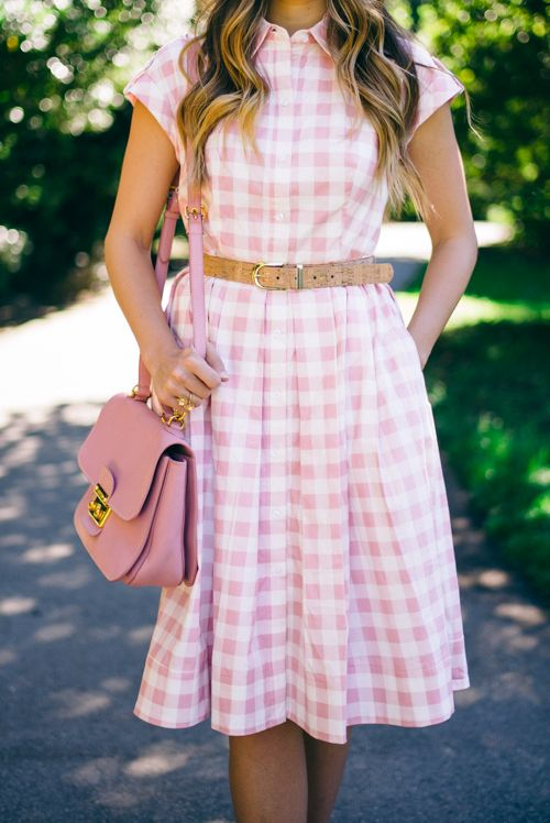 Pink Check Dress by Eliza J and Miu Miu Bag
