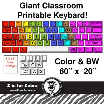 "Giant Classroom printable keyboard. The size measures approximately 60""x20"" (using spacing show in image) but really depends on how much space you want to put between the keys."