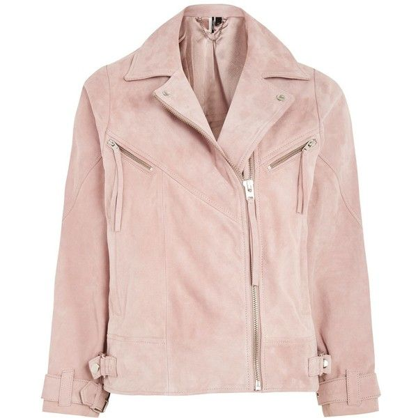 Topshop Suede Biker Jacket ($260) ❤ liked on Polyvore featuring outerwear, jackets, pale pink, zipper jacket, topshop jackets, rider jacket, motorcycle jacket and suede moto jackets