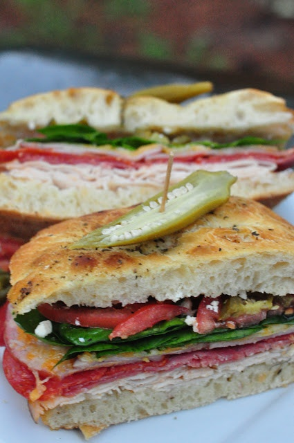 Spicy Italian Sandwich on Focaccia Bread by @DivianConner
