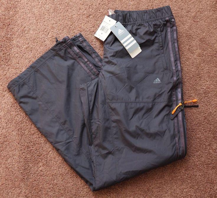 ADIDAS ClimaProof Gray Athletic Pants Womens MEDIUM Vented Sides Training NEW #ADIDAS #PantsTightsLeggings