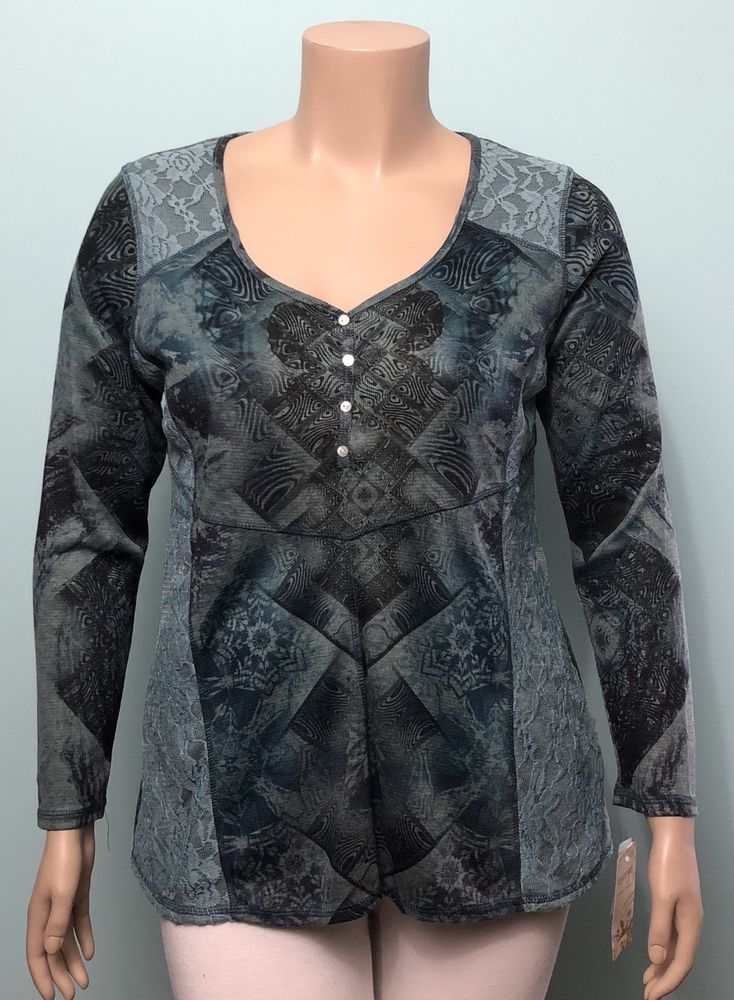 38f1cdc60630 Energe World Wear NWT 1X Geometric Lace Patchwork Print LS Henley Knit Top  Shirt | eBay