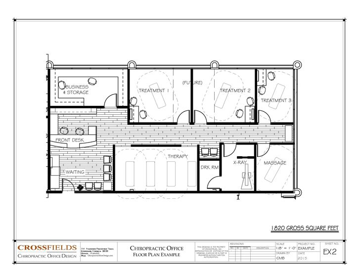Chiropractic Office Plan with #Expansion - 1820 gross sq. ft. http://www.chiropracticofficedesign.com