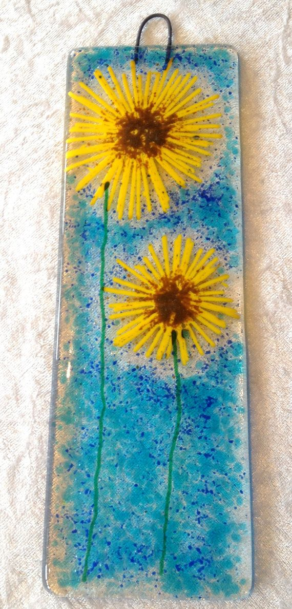 Poppies fused glass lightcatcher suncatcher flowers by CaroFusion