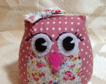 Fabric owl pin cushion softie ornament