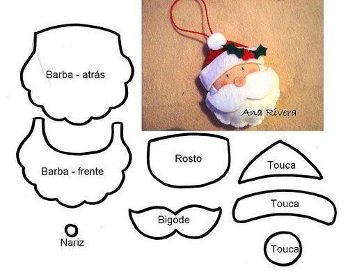 ♥ Enfeite para a árvore de natal em feltro. com molde.