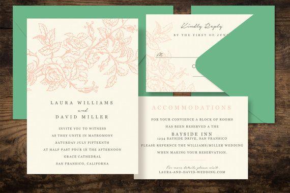 Rose Garden Printable Wedding Invitation Set  DIY by PaperFreshCo