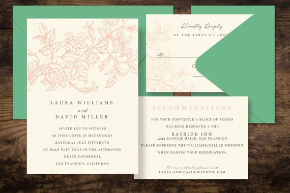 Rose Garden Printable Wedding Invitation Set  DIY by PaperFreshCo