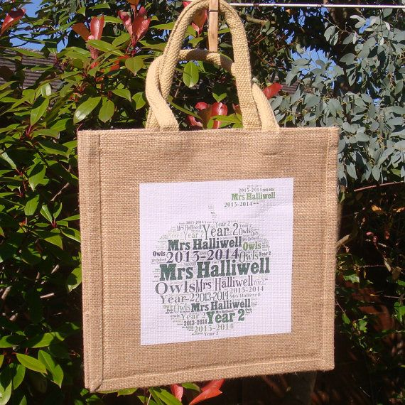 Teacher Gift Personalised Jute Bag Teacher Gift by PepperDoodles
