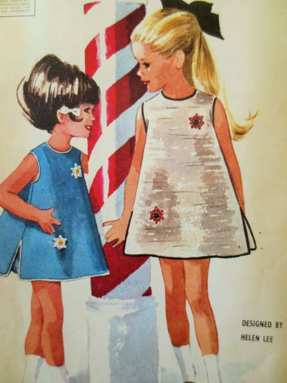 Vintage McCalls  6793 Sewing Pattern, Girls Dress, Helen Lee, Bloomers, 1960s Dress Pattern, 60s Sewing Pattern, Chest 24, Vintage Sewing