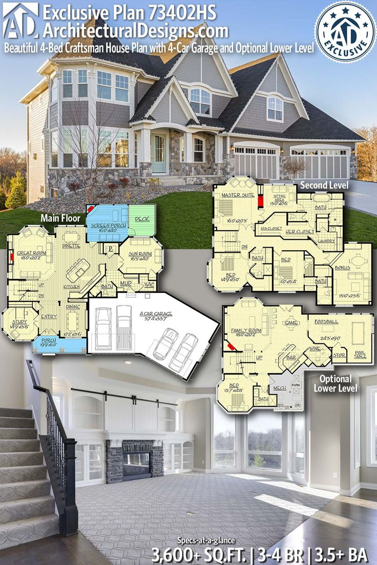 Plan 73402HS: Beautiful 4-Bed Craftsman House Plan with 4-Car Garage and Optional Lower Level
