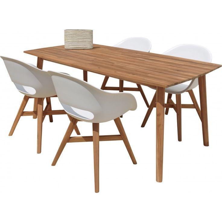 Lomma utemöbelset med 220 cm bord och 4 vita Viktor stolar  :: Utemöbler och Trädgårdsmöbler, Utemöbler och Trädgårdsmöbler > Matgrupper, Nyheter, Utemöbler och Trädgårdsmöbler > Trämöbler, Outlet - 20-40%, REA > Utemöbler