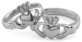 IrishJewelryOnline.com: Mens Engraved Stainless Steel Claddagh Ring