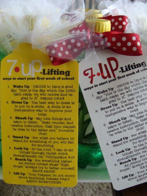 Secret Sister Idea: Sunday School, Schools Goodies, Back To Schools, Gifts Ideas, Lifting Things, Cute Ideas, Young Women, Schools Gifts, 7 Up Lifting
