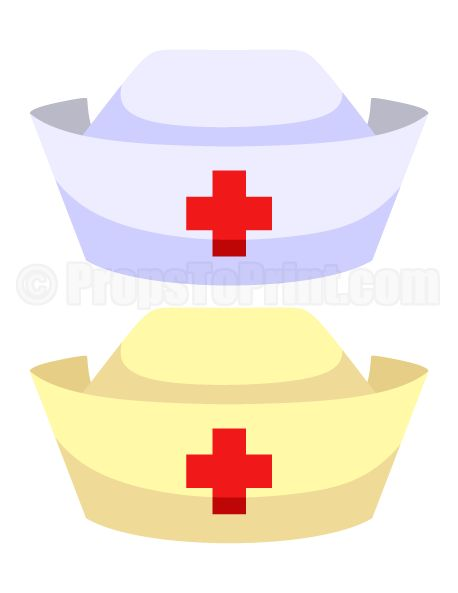 Printable nurse hat photo booth prop. Create DIY props with our free PDF template at http://propstoprint.com/download/nurse-hat-photo-booth-prop/