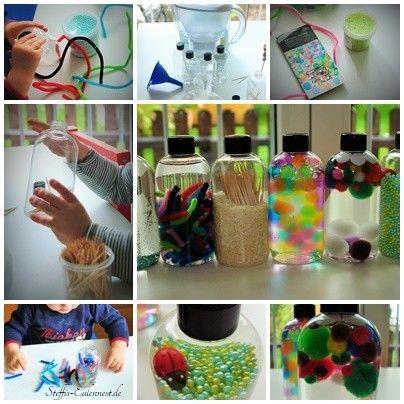 Basteln mit Kindern, Sensorik Flaschen / Sensory Bottles, Basteln für Kinder, Kita, Krippe, Kindergarten