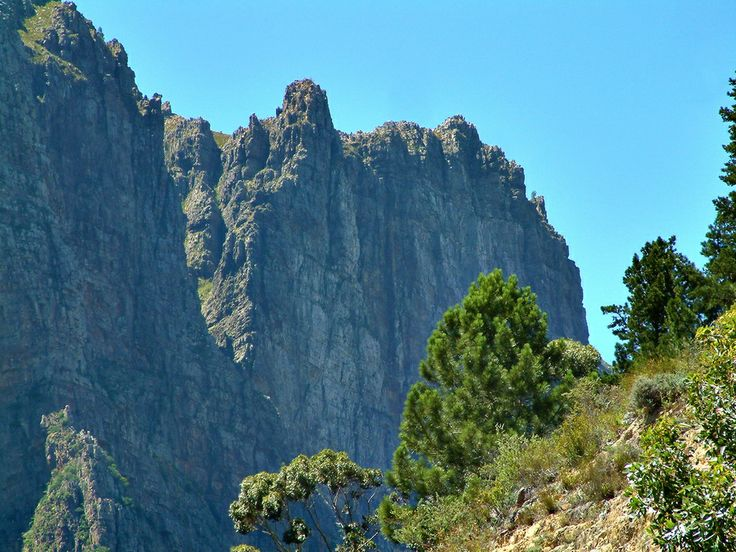 Huge rock cliffs at the bottom of the old Du Toit's Kloof pass, near Paarl, South Africa.