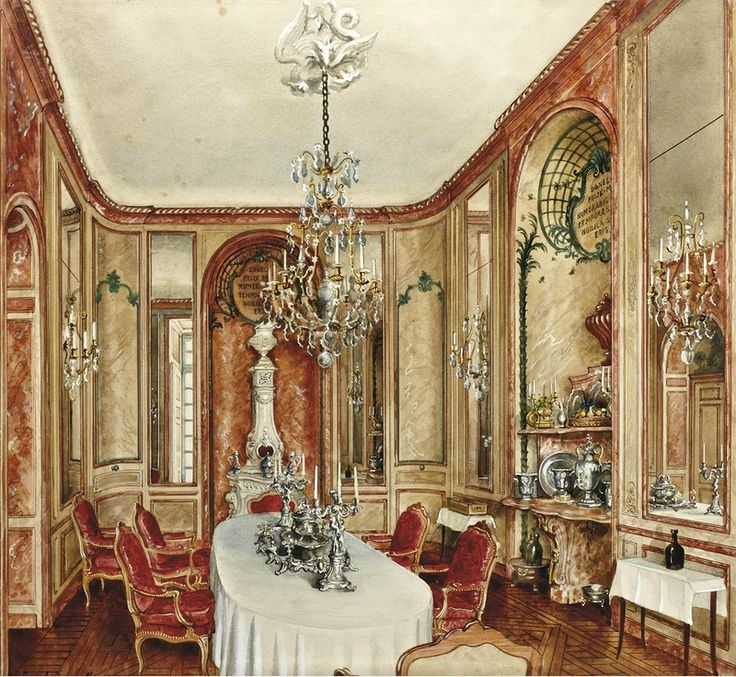 82 best images about interior watercolours xix century for Salle a manger 1950