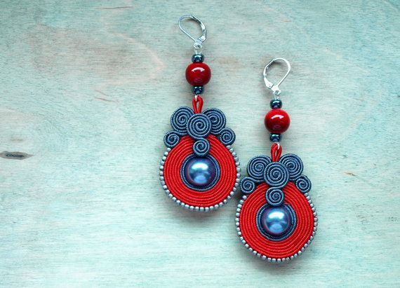Long soutache earrings Red Grey hand embroidered by ShoShanaArt