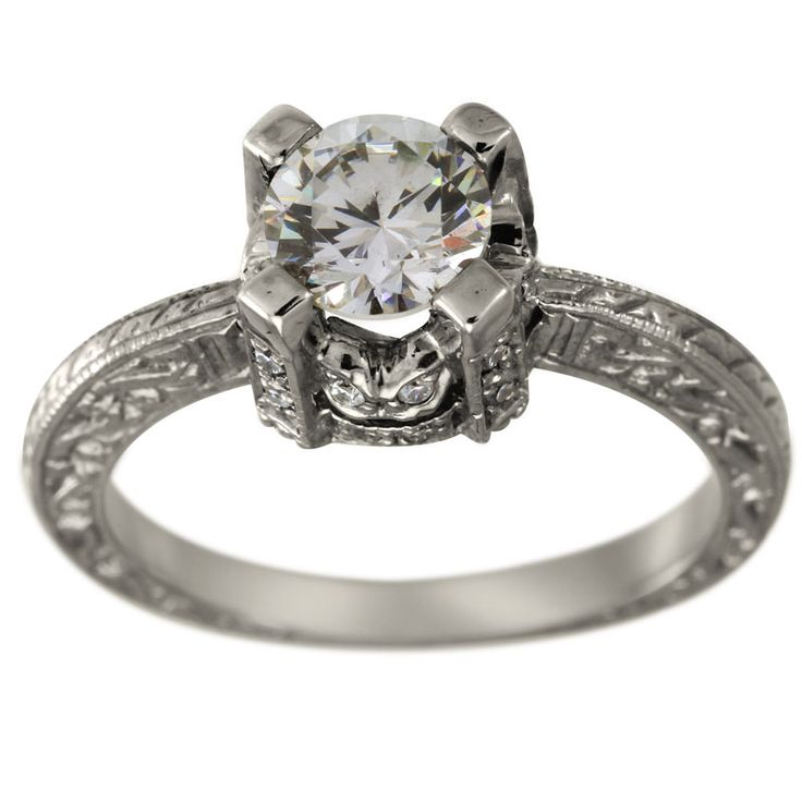 vintage diamond engagement mounting diamond accented With antique wedding rings pinterest