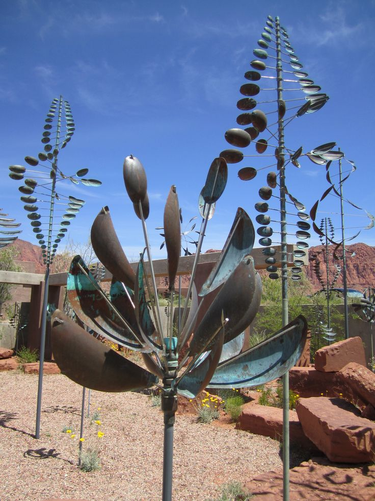 Wind Sculptures by Lyman Whitaker;  at Coyote Gulch Art Village, Kayenta, Utah (near St. George)