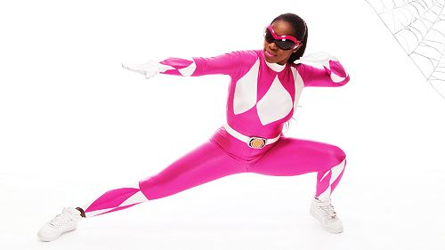 WWE Naomi Knight dressed as the Pink Ranger