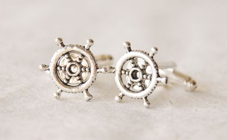 Captain's Wheel Cufflinks, Nautical Cuff Links Set, Boating Gift for Men, Boat Wheel Cufflinks, Ship Accessories, Nautical Gifts for Men by SmittenKittenKendall on Etsy
