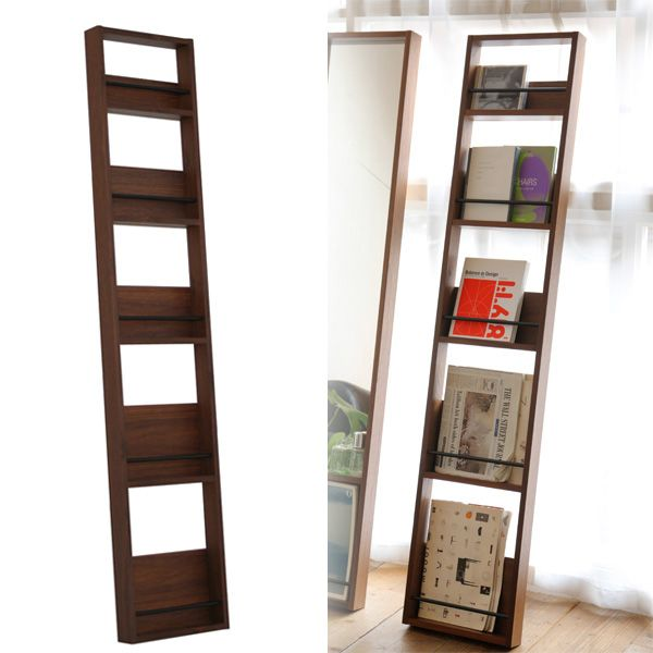 Magazine rack wall hangings slim wooden North Europe fashion antique magazine stands display rack vintage magazine shelf magazine stands Stai Risch thin modern nostalgic living cafe beauty parlor waiting room office ANR-2395 anthem anthem Magazine Rack