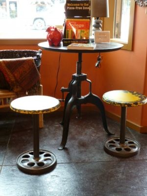 Industrial table and stools by Over the Fence