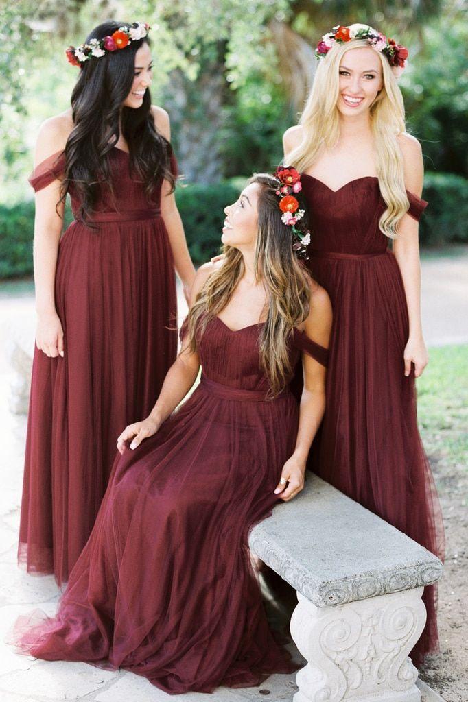 Rosalie Tulle Convertible Dress in 2021 | Fall bridesmaid dresses, Burgundy bridesmaid dresses, Tulle bridesmaid dress