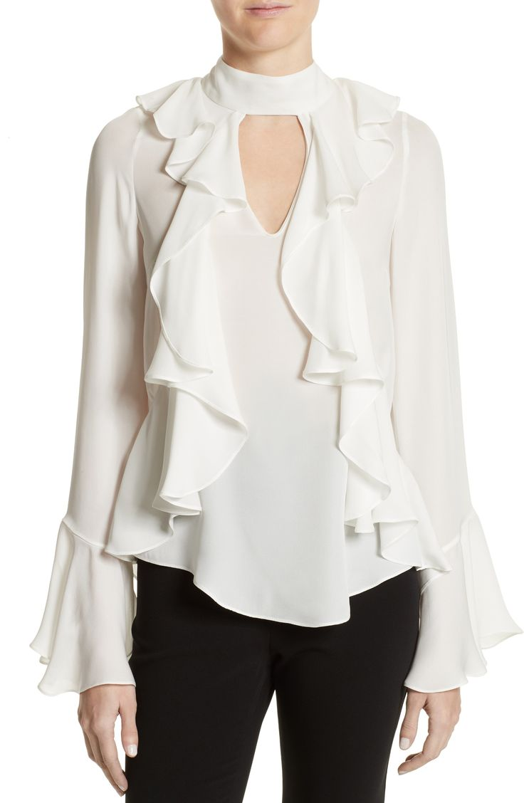 New Cinq ? Sept Sia Silk Blouse BEIGE CEMENT fashion online. [$375] new offer from topshoppingonline<<