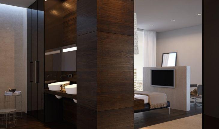 Boiserie in legno per la camera da letto, mensole in legno, pannello per Armadio in legno coordinato