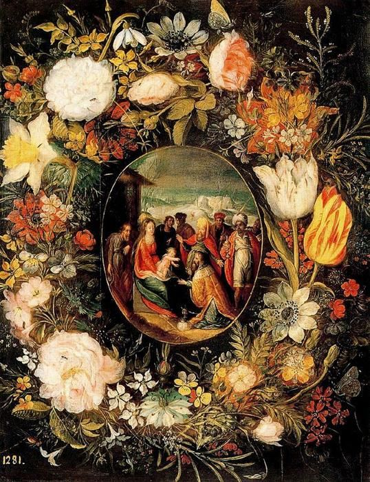 Garland with the Adoration of the Kings by Pieter Bruegel The Younger (1564-1636, Belgium)