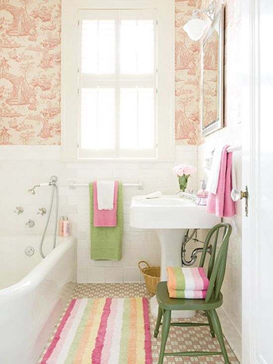 "I have a lot of ""dream"" bathrooms, but this one is actually a pretty attainable one! Start with a basic white bathroom, add some fantastic modern toile wallpaper, some cheery pink and green accents, and you have something pretty special. Below are some items that can help you get the look. striped towel colorful towels [...]"