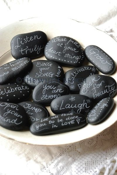 """chalk board stones - what a great idea for memorizing verses - write a word on each stone - put them in the right order or hide them around the house for your child to find all the """"stones"""" and challenge him/her to put them in the right order."""