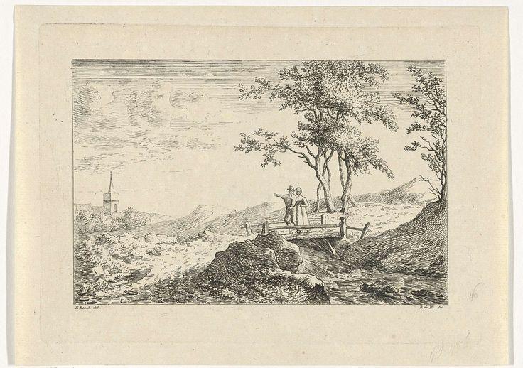 baron Reinierus Albertus Ludovicus van Isendoorn à Blois | Paar op een houten brug, baron Reinierus Albertus Ludovicus van Isendoorn à Blois, 1796 - 1856 | Een man en vrouw lopen naast elkaar op een houten brug. De man wijst naar de kerktoren links.
