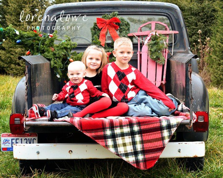 Christmas Set Up or Generic Family Shot using an Old Truck. Perfect Christmas Photo for your family!!!!!!!!!!!!