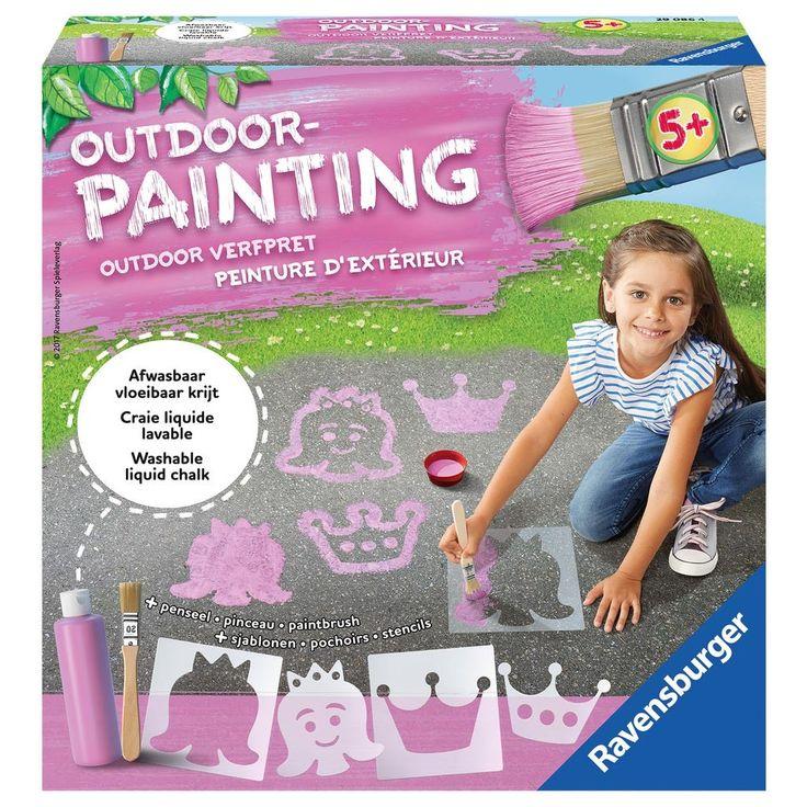 Maak de mooiste prinsessentekeningen op de stoep met deze outdoor painting set. In de set vind je een fles vloeibare roze stoepkrijt (Inhoud: 280gr), een penseel, een mengbeker en 4 sjablonen in het thema prinses. Afmeting: verpakking 22 x 22 x 6,5 cm - Outdoor Painting - Prinses