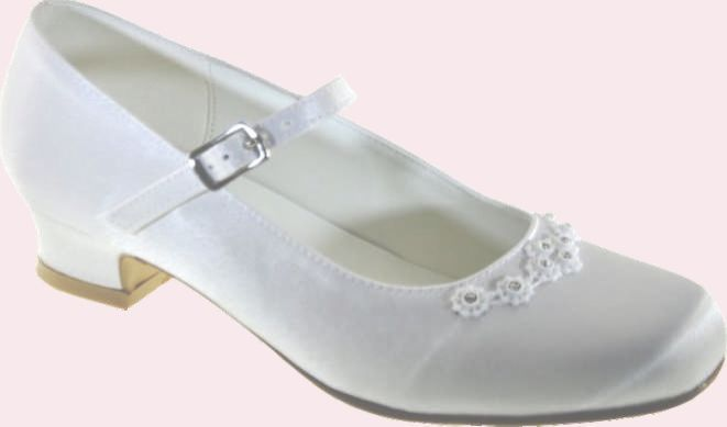 Girls Communion Shoes with Diamantes and small heel - Little People 5145 - Shoe size 11 12 13 1- White Satin Communion shoes - First Communion Shoes